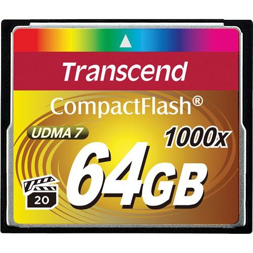 Transcend CF 64GB Extreme speed 1000x Speicherkarte - Frontansicht