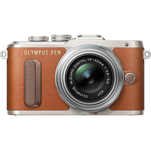 Olympus E-PL8 Kit mit 14-42mm Pancake Objektiv - Frontansicht