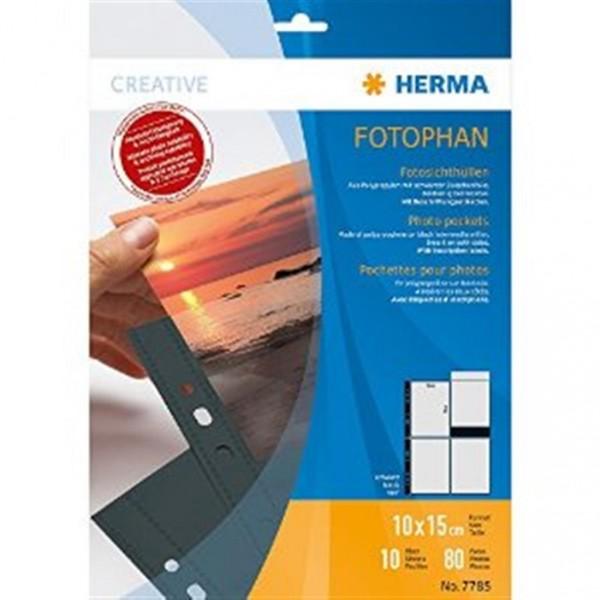 Herma 7785 Fotophan Fotosichthüllen 10x15 10 Hüllen schwarz
