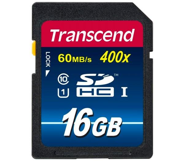 Transcend SDHC 16GB Klasse 10 400x Speicherkarte - Frontansicht