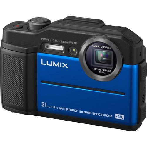 Panasonic Lumix DC-FT7 Outdoor Kamera blau - Schrägansicht