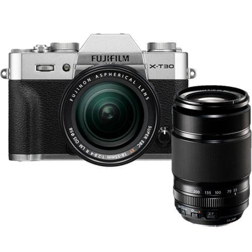 Fujifilm X-T30 Kit mit XF 18-55mm & XF 55-200mm Objektiv silber