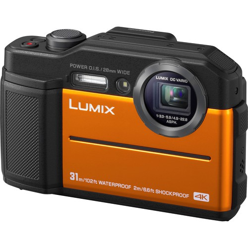 Panasonic Lumix DC-FT7 Outdoor Kamera orange - Schrägansicht