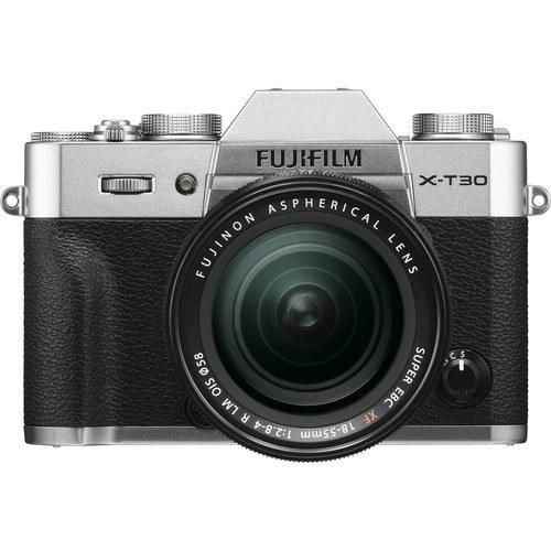 Fujifilm X-T30 Kit mit 18-55mm Objektiv silber - Frontansicht