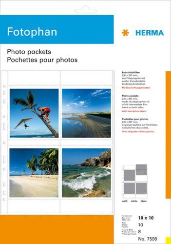 Herma 7598 Fotophan Fotosichthüllen 10x10 10 Blatt weiss