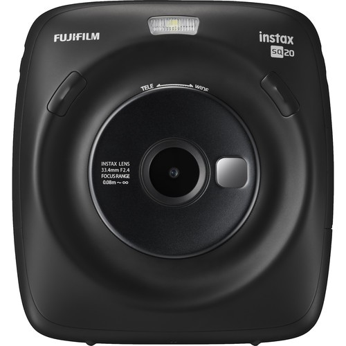 Fujifilm Instax Square SQ20 Sofortbildkamera schwarz - Frontansicht