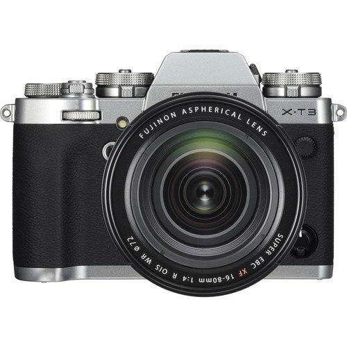 Fujifilm X-T3 Kit mit XF 16-80mm Objektiv silber - Frontansicht