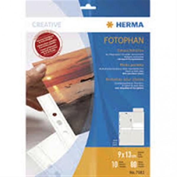 Herma 7584 Fotophan Fotosichthüllen 9x13 quer 10 Blatt weiss