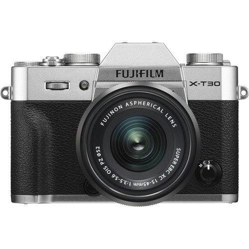 Fujifilm X-T30 Kit mit 15-45mm Objektiv silber - Frontansicht