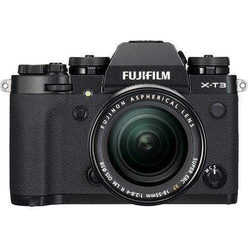 Fujifilm X-T3 Kit mit 18-55mm Objektiv schwarz - Frontansicht