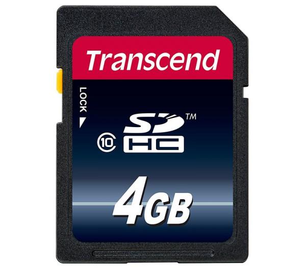 Transcend SDHC 4GB Klasse 10 Speicherkarte - Frontansicht