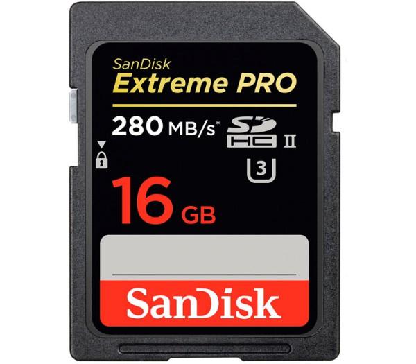 SanDisk SDHC 16GB Extreme Pro UHS-II Speicherkarte - Frontansicht