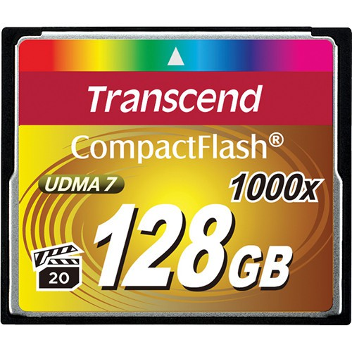 Transcend CF 128GB Extreme speed 1000x Speicherkarte - Frontansicht