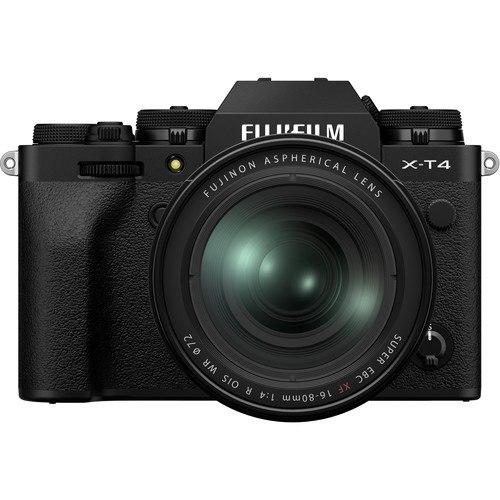 Fujifilm X-T4 Kit mi XF 16-80mm Objektiv schwarz - Vorderansicht