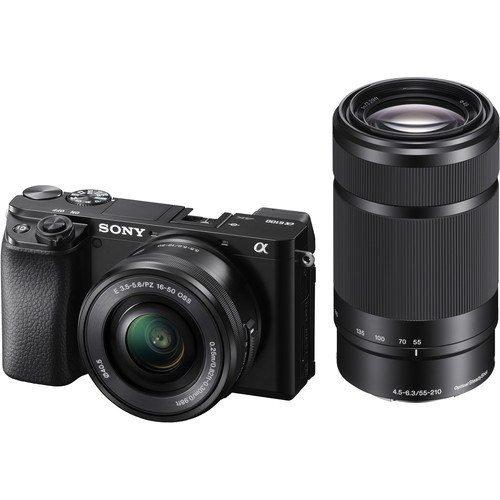 Sony Alpha 6100 Gehäuse Kit 16-50mm und 55-210mm Objektiv schwarz - Frontansicht