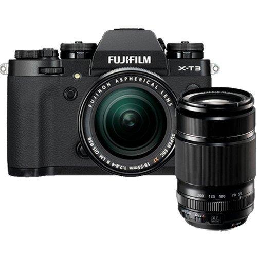 Fujifilm X-T3 Kit mit XF 18-55mm & XF 55-200mm Objektiv schwarz