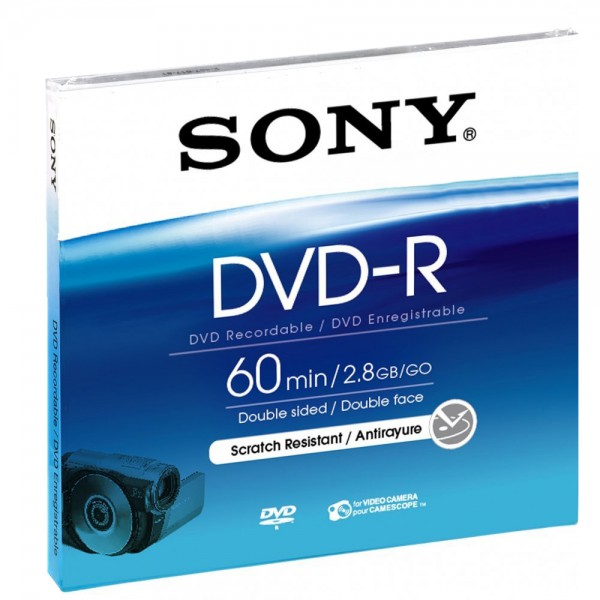 Sony DVD-R 2,8GB 8cm für Camcorder Rohling 60min - Frontansicht