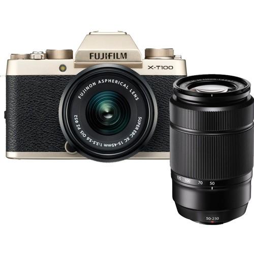 Fujifilm X-T100 Kit gold - Frontansicht