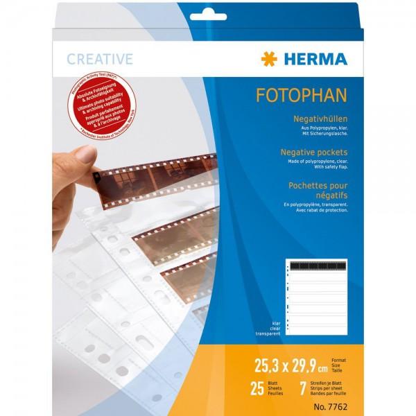 Herma 7762 Negativhüllen 7x6 Streifen, 25 Stück