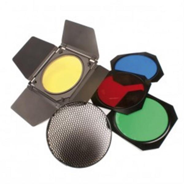 Helios Lichtklappen-Set mit 4 Farbfiltern und Wabenfilter