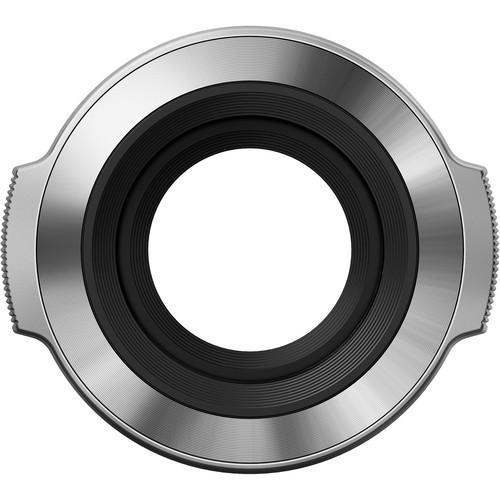 Olympus LC-37C Objektivdeckel silber - Frontansicht offen