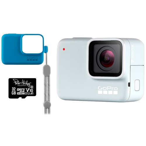 GoPro Hero 7 Special Edition White inkl. Hülle blau, Trageband & 32GB microSD