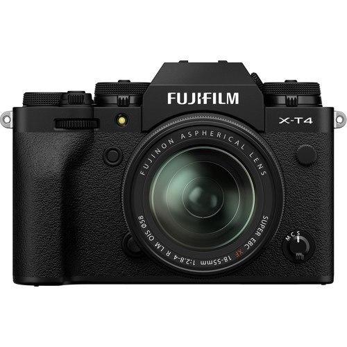 Fujifilm X-T4 Kit mi XF18-55mm Objektiv schwarz - Vorderansicht