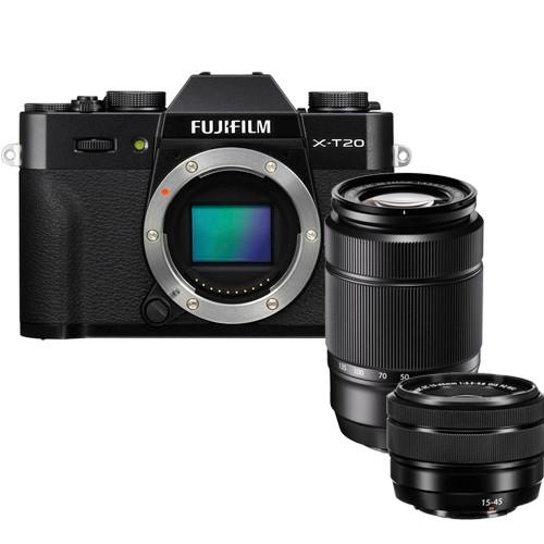Fujifilm X-T20 Kit mit XC 15-45mm & XC 50-230mm Objektiv - Frontansicht