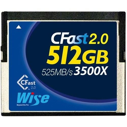 Wise 512GB CFast Speicherkarte (3400x, blau) - Frontansicht