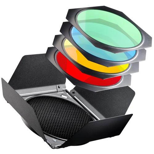 Walimex Abschirmklappen mit Waben & Farbfilter Set