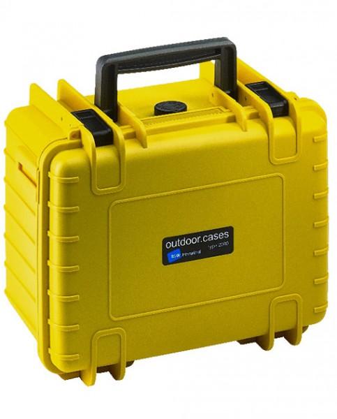 B&W Outdoor Case Typ 2000 Koffer mit variablen Fächern gelb