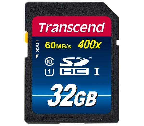 Transcend SDHC 32GB Klasse 10 400x Speicherkarte - Frontansicht