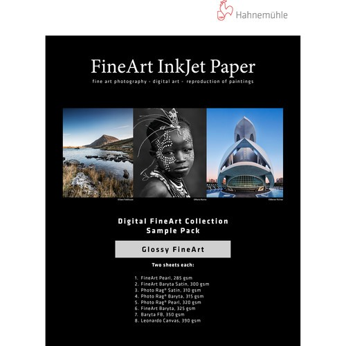 Hahnemühle FineArt Inkjet a4 Papier Glossy Sample Pack - Frontansicht