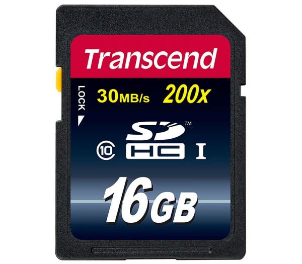 Transcend SDHC 16GB Klasse 10 200x Speicherkarte - Frontansicht