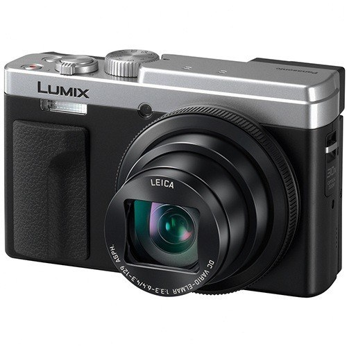Panasonic Lumix TZ96 Kompaktkamera silber - Schrägansicht